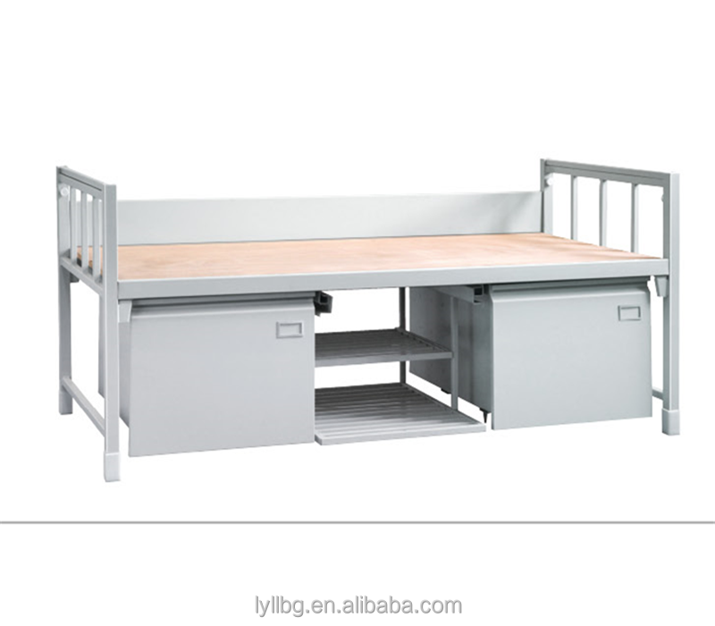 Heavy duty steel metal single folding bed with storage drawer