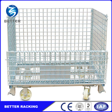 Foldable Galvanized Collapsible Wire Mesh Container, Rolling Metal Storage Cage