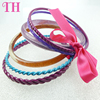 beauty accessory latest design low price mix colors silver ribbon pu resin bracelet handmade custom bracelet manufacturer