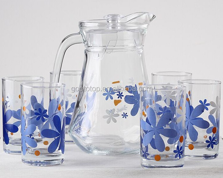hot new products for 2016 Gold painting glass decanters glass water jug handmade glass water jug set