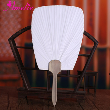 Handmade Paddle Paper Fan With Wooden Handle White Chinese Palace Round Fan Bridesmaids Wedding Favors Party Gifts