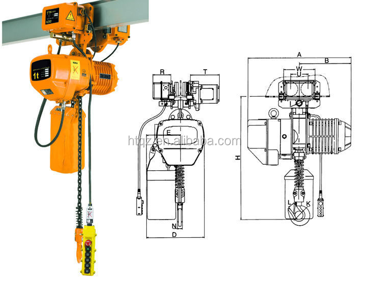 With Electric Trolley Hook Lifting Tools 3 Tons Electric Chain Hoist /electric hoist 10 ton