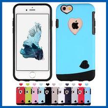 C&T Heart Shap Slim Hybrid Dual Layer Silicone Bumper Case Hard Cover for Apple iPhone 6 6S
