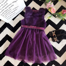 China manufacturer wholesale winter purple elegance kids christmas party dresses girl simple sleeveless dress