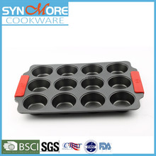 0.6mm Carbon Steel Non Stick Cake Pan /12 Cups Muffin Cupcake with Silicone Handle