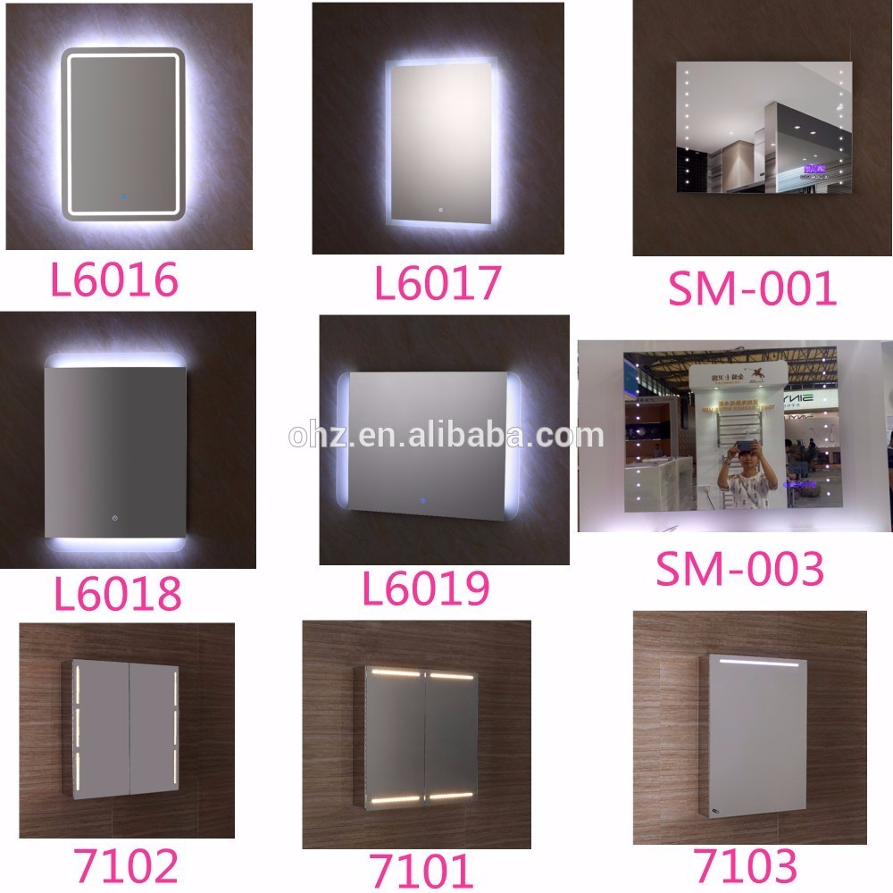 L6016 led light bathroom mirror and vanity mirror cabinet with led