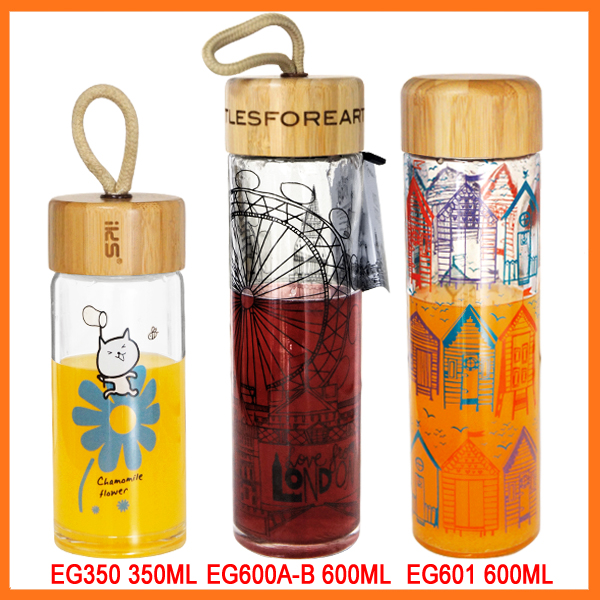500ml New design decal logo single walled glass kor water bottle with portable lid