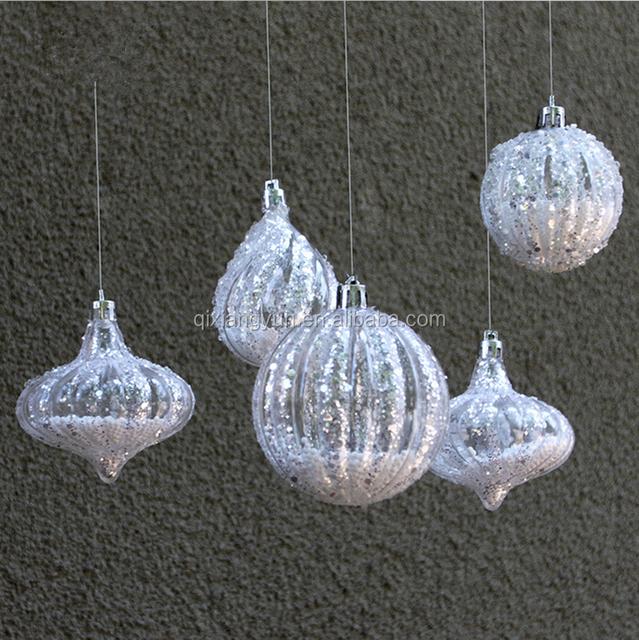 2017Wholesale christmas crystal ball water/onion shapes shatterproof tree balls