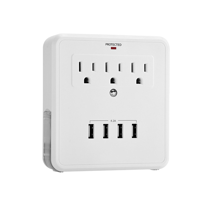 3 Outlet Wall Mount 4.2A Four (4) USB Charging Ports Surge Protector Current Tap with 4 USB