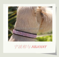 Dog leather collar with different color diamond