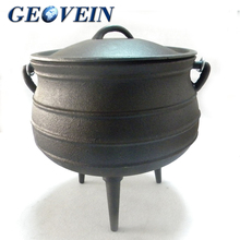 Round belly shape non stick cast iron three legs cauldron outdoor cookware