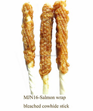 natrual dog treat salmon wrap bleached cowhide stick healthy dog snack OEM supplier cowhide stick dog chew