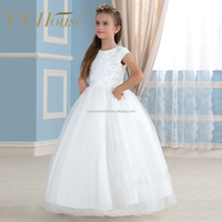 Princess Ball Gown White Flower Girl Dresses Floor Length 2016 Sleeveless Kids Pageant Dress For Little Girls Baby Party Frocks