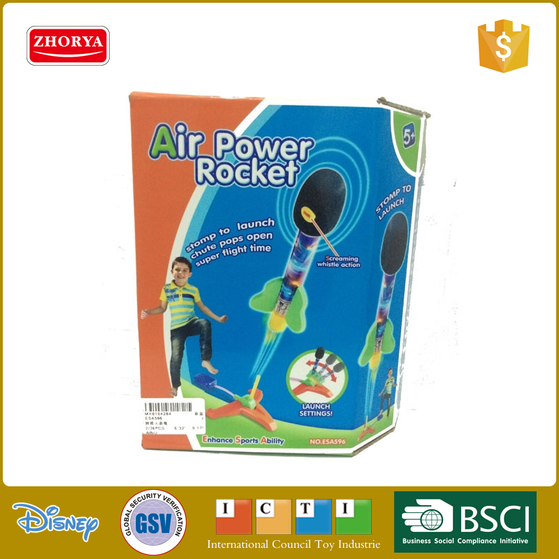 Kids EVA foam soft air pump rocket toys with rocket launcher