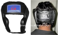 Training and Competition Fine Quality Leather Hand Crafted Padding Below Chin Velcro Closure Black Boxing Head Protector