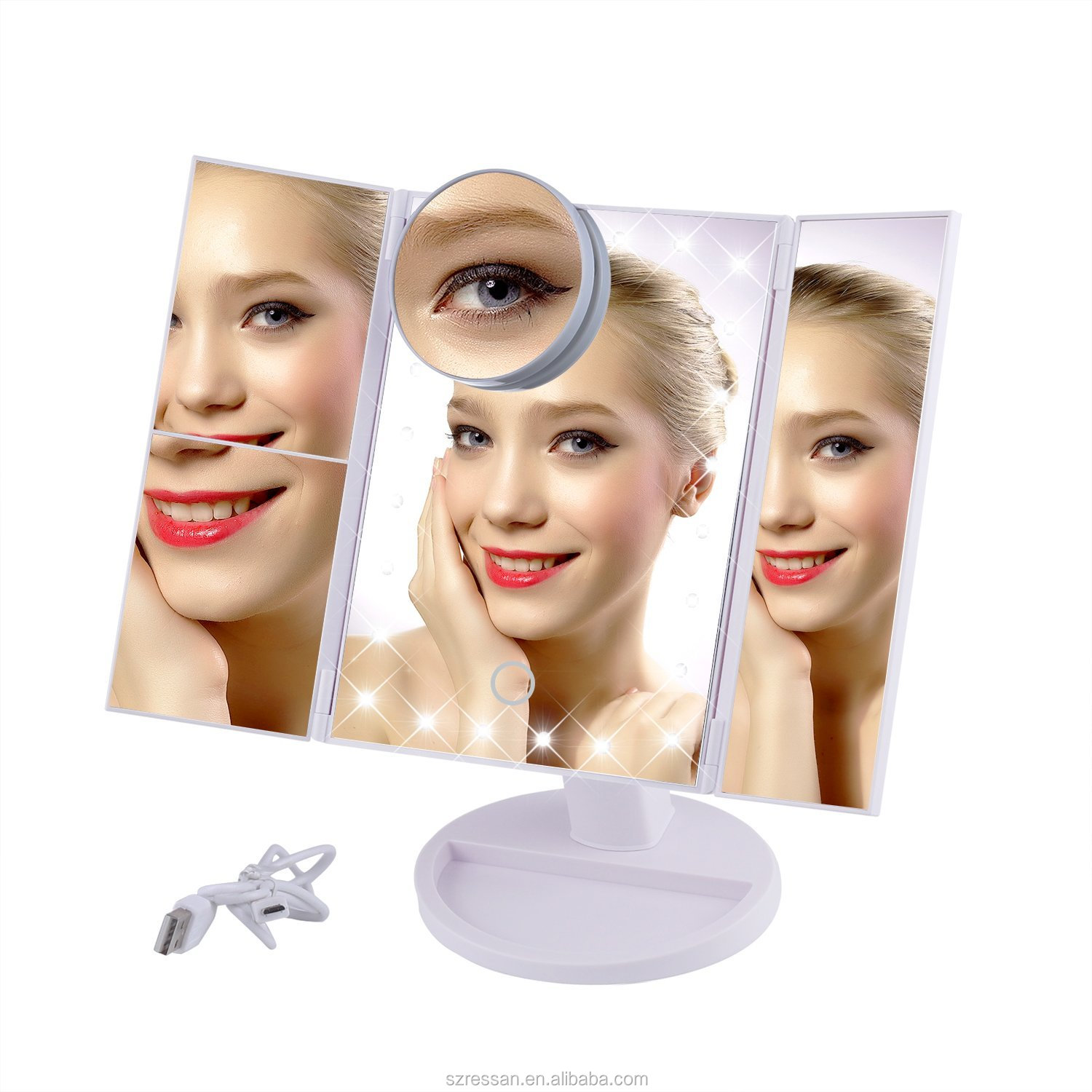 Popular Trifold 10X magnifying led makeup mirror vanity mirror with led lights for makeup