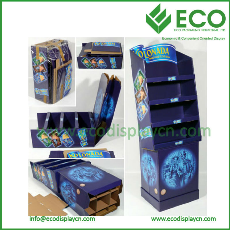 Easy Assemble Cardboard Display Shelf for Snack Store, Supermarket, POP Display