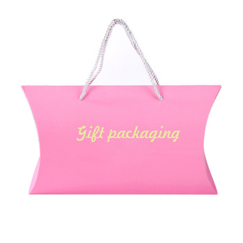 Custom printed pink shirt pillow box with ribbon handle