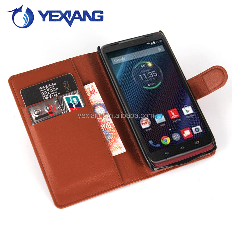 Hot selling stand PU Leather flip case for Moto Droid Turbo XT1254 with card slot