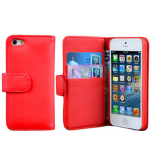 simple style pu leather case for iphone 5 with credit card holder