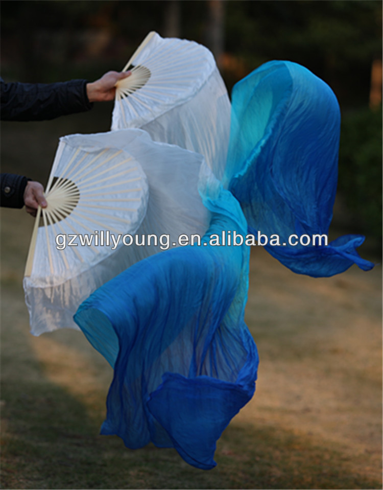 Belly Dance Real Silk Fan Veils, Pure Silk Material, 180*90CM, WHITE/TURQUOISE/BLUE