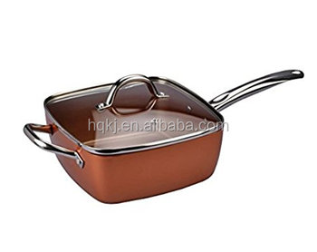 FP20 Chef Pan with Glass Lid, Copper Frying Pan Kitchenware Fryer