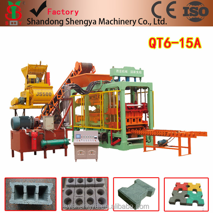 QT6-15A fully automatic concrete hollow brick making machine/QT6-15A hydraulic cement block making production line