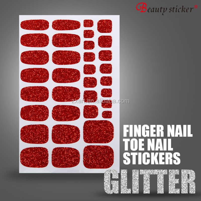 New Arrival full cover glitter nail wraps toe nail sticker
