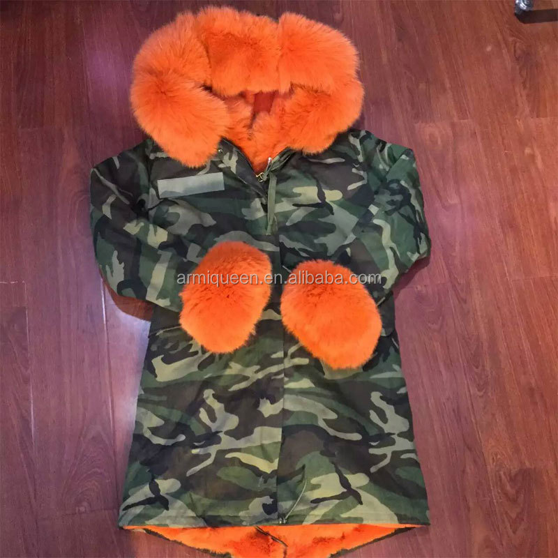 New Fashion style camouflage long jacket Orange fur removable hood/sleeve/collar fox/rabbit/faux fur lining furs parka coats