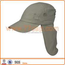 outdoor hat breathable polyester sports cap with back flap ,fitted hats cap with earflaps