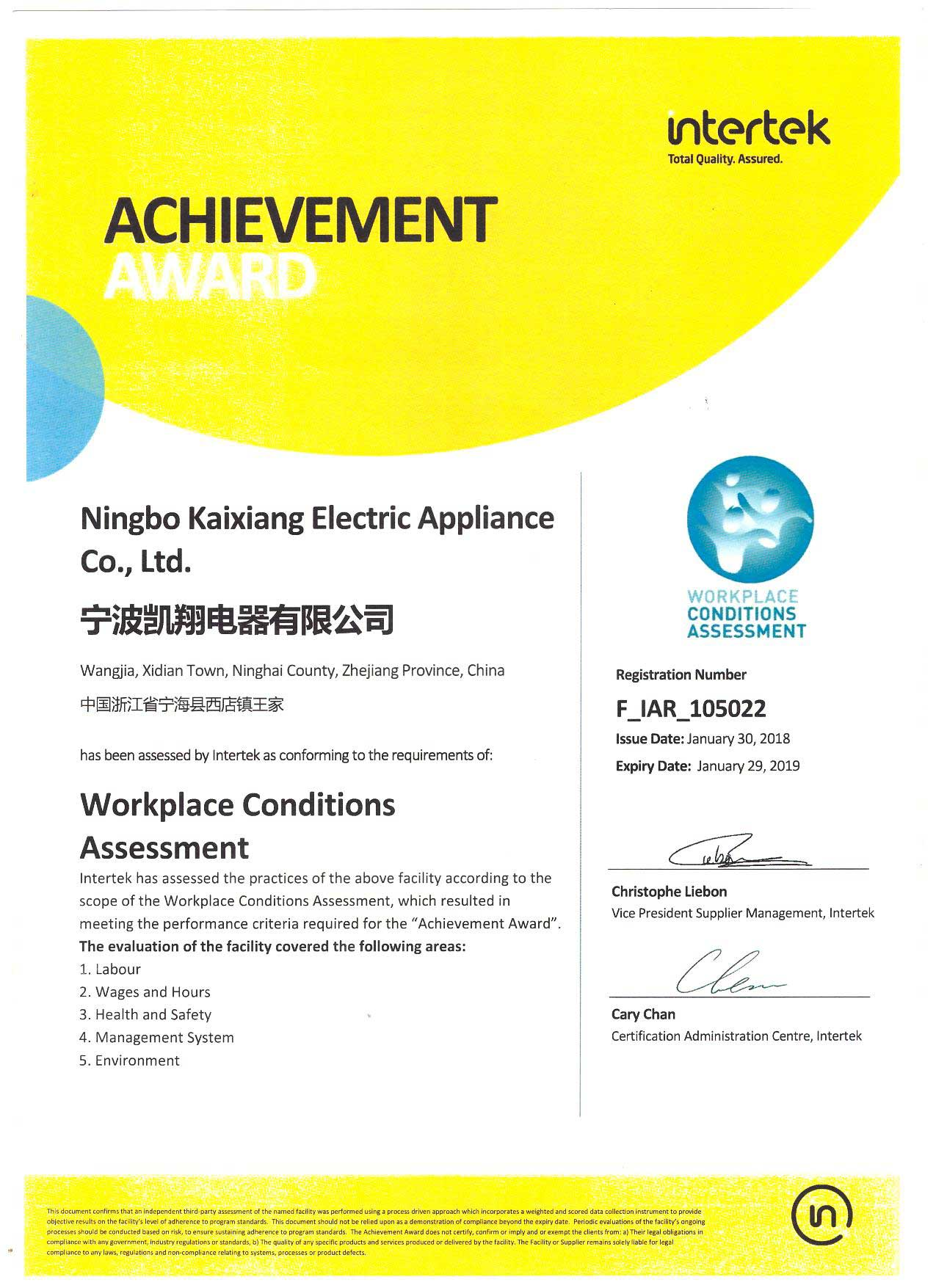 Workplace Conditions Assessment Report