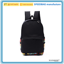 2016 latest Fashion black canvas school bag for teenagers