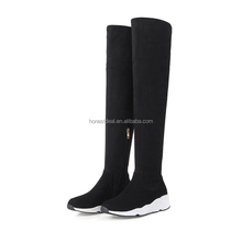2017 famous women black suede sexy thick sole side zipper waterproof thigh high big size sports winter boots