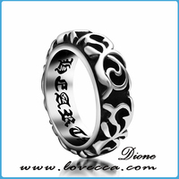 Retro punky wholesale vintage ring band black silver infinity symbol rings