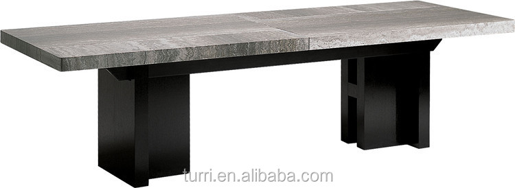 Modern Marble Dining Room Table Wood Base View