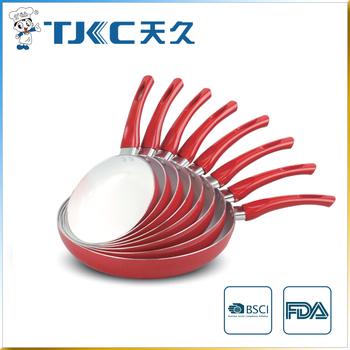 Ceramic Fry Pan with Red Painted Handle