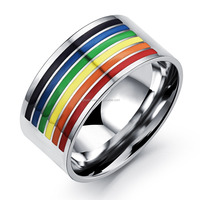 men gay ring rainbow high polished 316l stainless steel men ring for gay Free Shipping