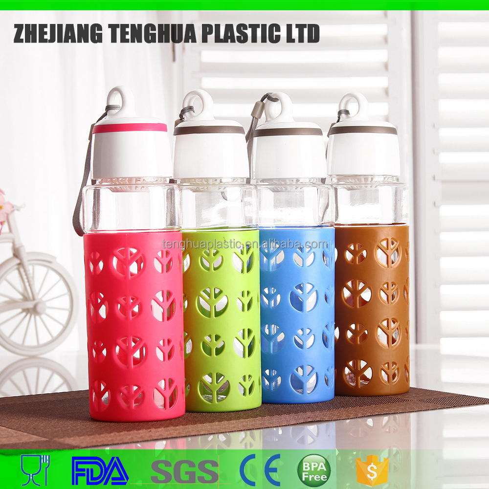 6060 plastic cover glass water bottle hot sale with similar silica cover and wholesale cheap from our factory