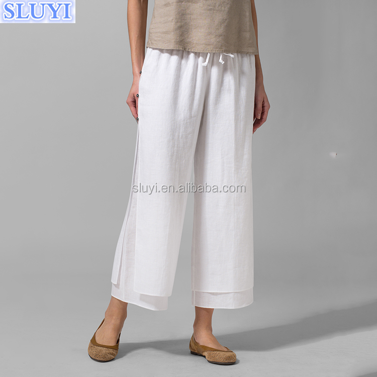 fashion muslim women cheap cullote casual loose linen wide leg palazzo pants linen double layer cropped pants with shell button