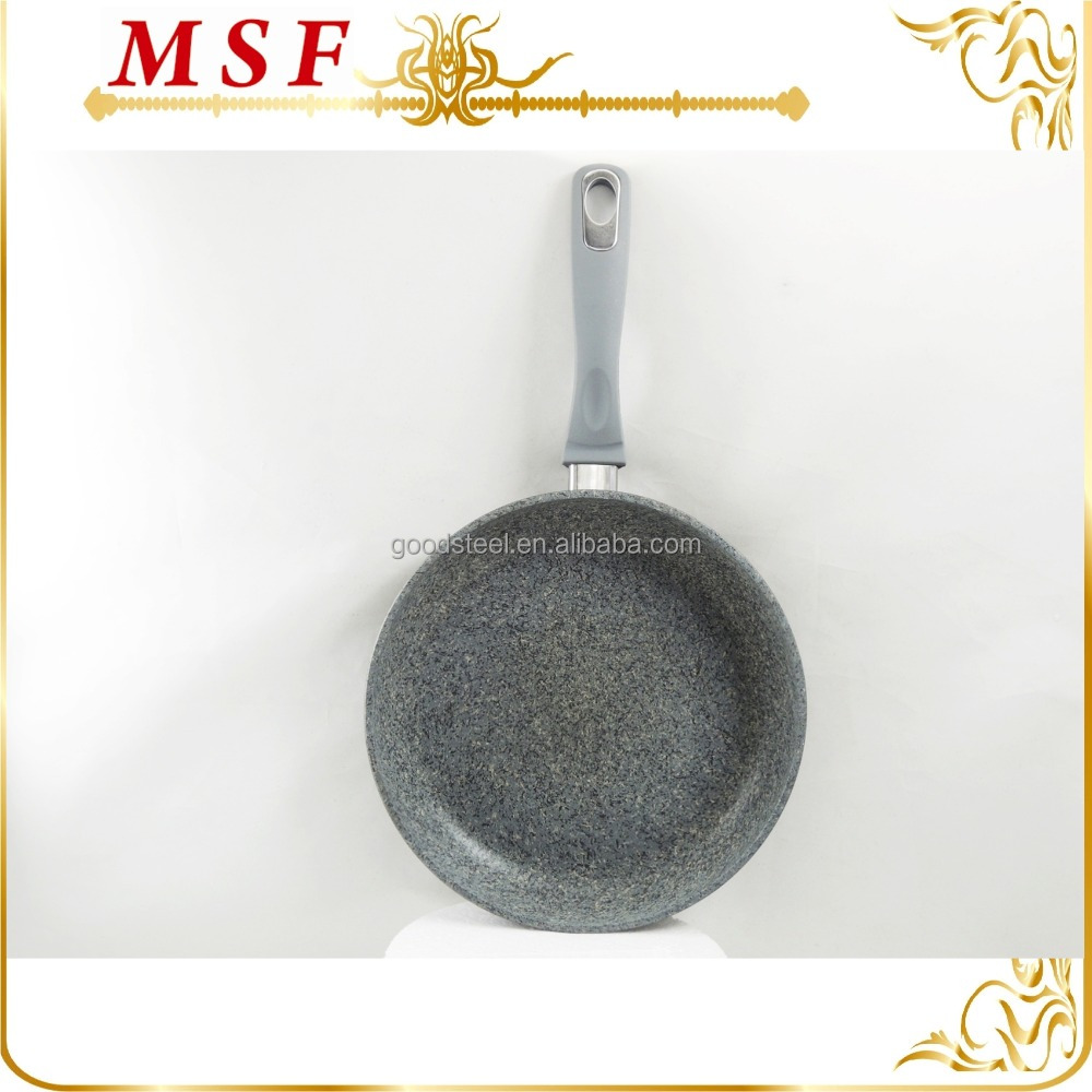amazing marbleized looking forged aluminum marble coating fry pan with imitated enamel paiting outside
