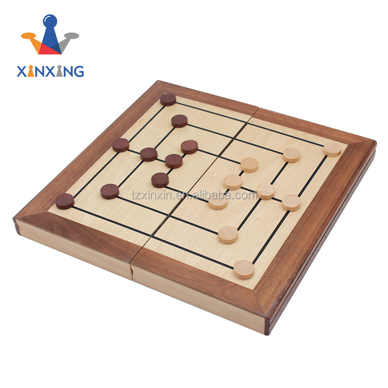 mini board nine men's morris indoor game for adults and kids