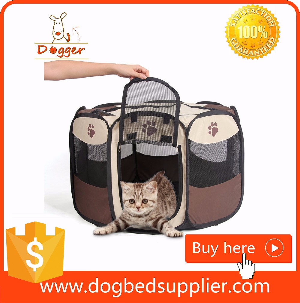Indoor Outdoor Dog Cat Play Pen - Zippered Top And Door Access With Stakes Included