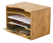 Natural Bamboo File Organizer with Adjustable Dividers