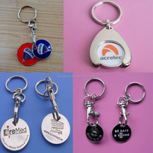Fashion Engraved Logo One Pound/Two Pound/Replaceable Coin Trolley Token Coin Keychain