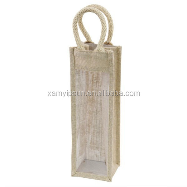 Natural 1 Bottle Jute Wine Bag with Clear PVC Window