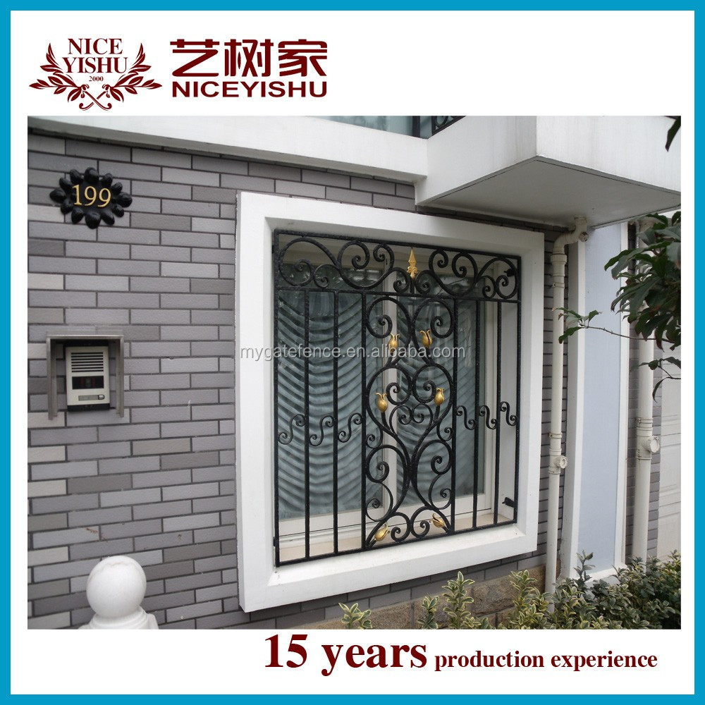 Yishujia factory decorative cheap wrought iron window for Metal window designs