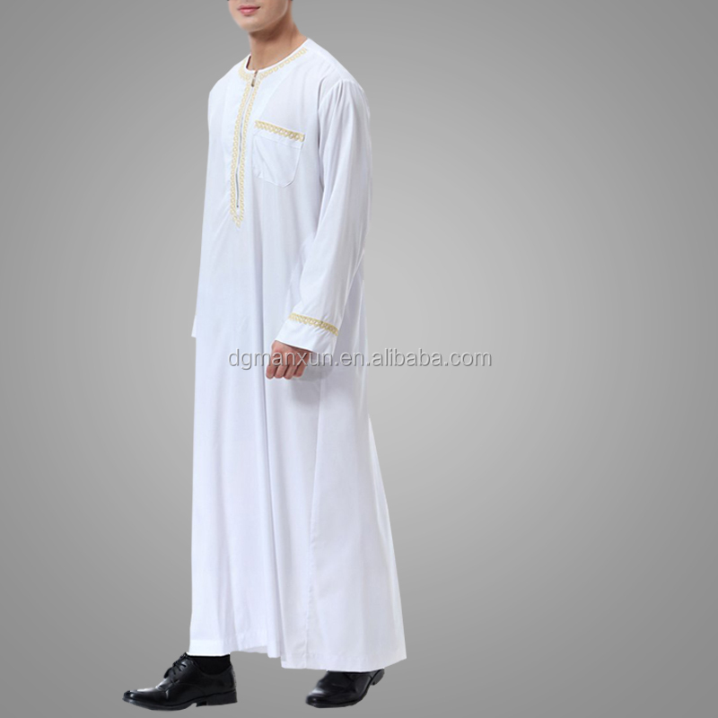 New Arrival Moroccan Style Arab Thobe For Sale Long Sleeve Embroidery White Muslim Men Abaya