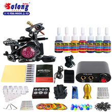 Solong professional tattoo supply needles/power supplu/1gun/14ink cheap price top quality complete tattoo kit pro