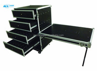 Top sale 16U Aluminum flight case with drawers , Rack Drawer tool Case/heavy duty aluminum tool case