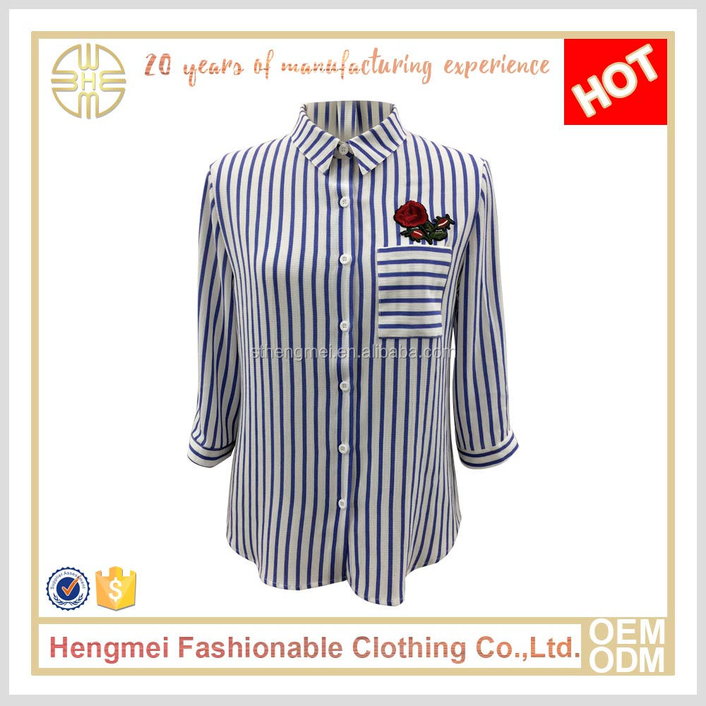 Ladies casual shirts pictures cheap custom chiffon stripe shirts for women